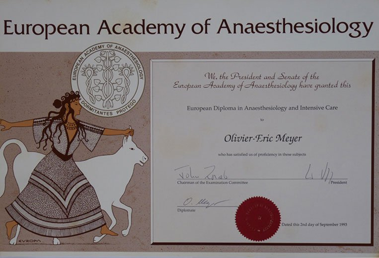 Academy of Anaesthesiology Diploma Dr.Olivier Meyer