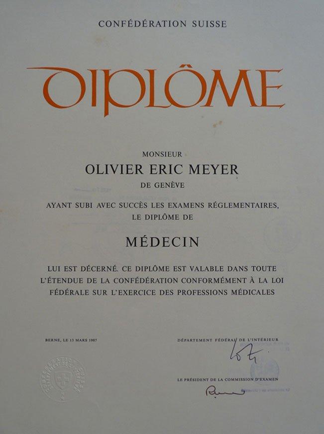Swiss Doctors Diploma Dr.Olivier Meyer
